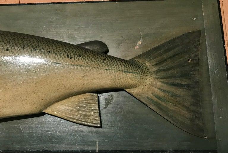 Scottish Folk Art Carved Wooden Atlantic Salmon Model, Firm of PD Malloch, Perth Scotland For Sale