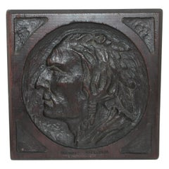 Folk Art Carving of a Indian Chief Plaque