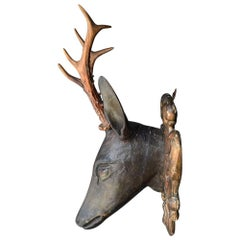 Folk Art Deer's Museum Trophy Plaque with Natural Antlers, circa 1880
