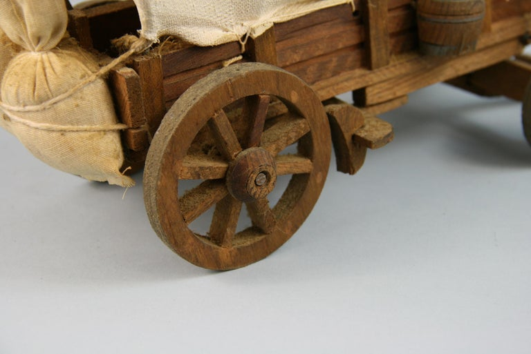 Fabric Folk Art Detailed Model of a Conestoga Wagon For Sale