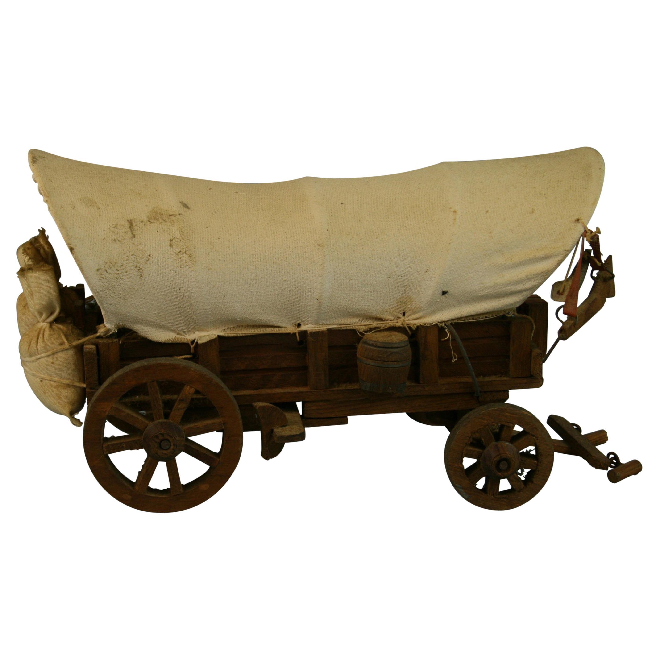 Folk Art Detailed Model of a Conestoga Wagon