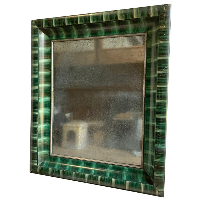 Folk Art Faux Malachite Painted Mirror, 1900 For Sale