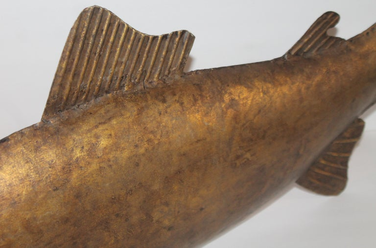 American Folk Art Fish Sculpture Gilded Metal For Sale
