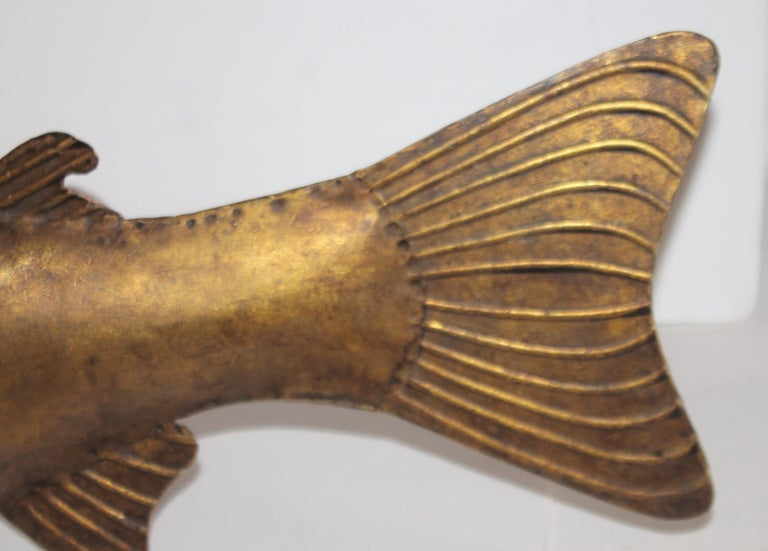 Hand-Crafted Folk Art Fish Sculpture Gilded Metal For Sale