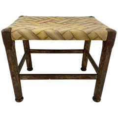Folk Art Footstool with Woven Seat