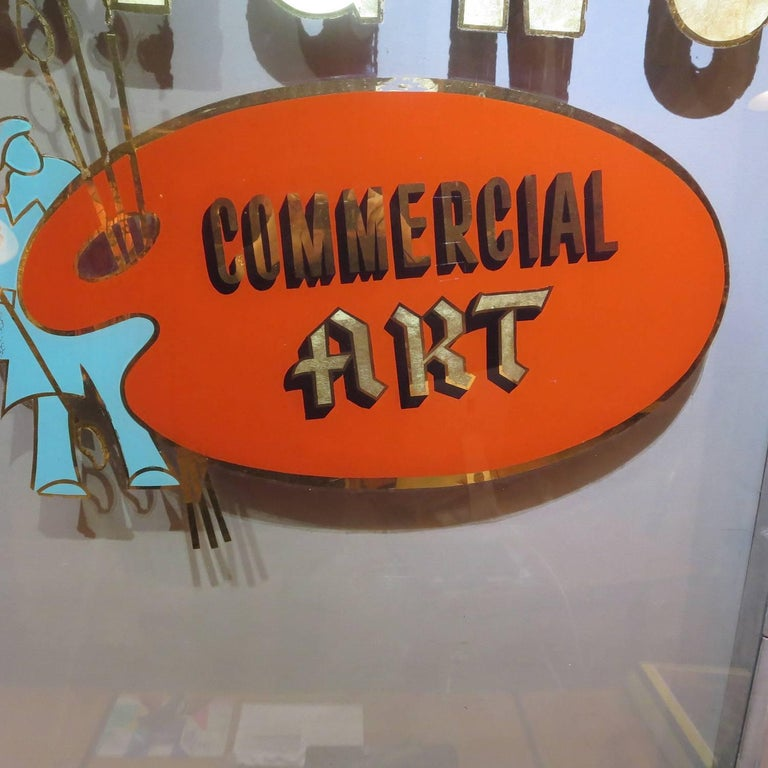 Hand-Painted Folk Art Gilded Window from Sign Painters Storefront For Sale