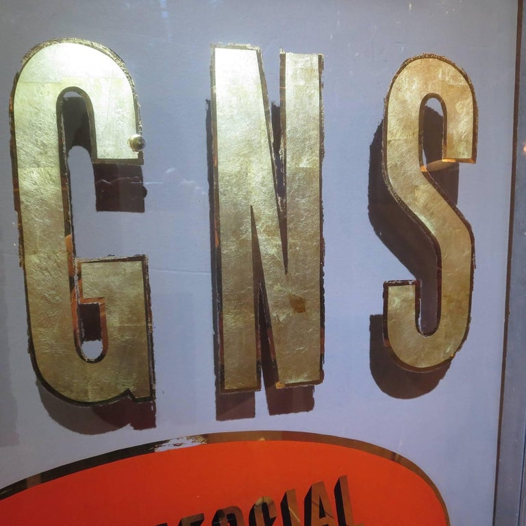 Mid-20th Century Folk Art Gilded Window from Sign Painters Storefront For Sale