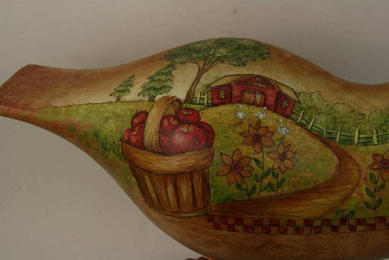 Folk Art Goose Hand Painted Sculpture In Good Condition For Sale In Douglas Manor, NY