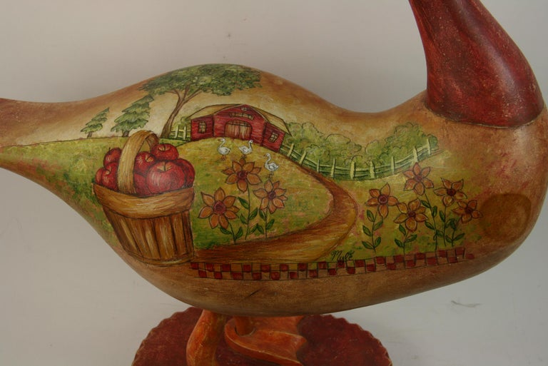 Late 20th Century Folk Art Goose Hand Painted Sculpture For Sale