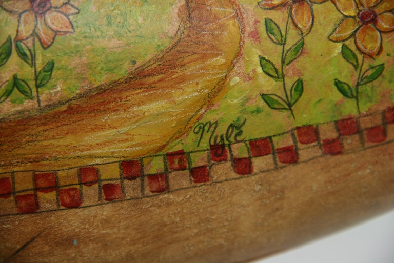 Folk Art Goose Hand Painted Sculpture For Sale 4