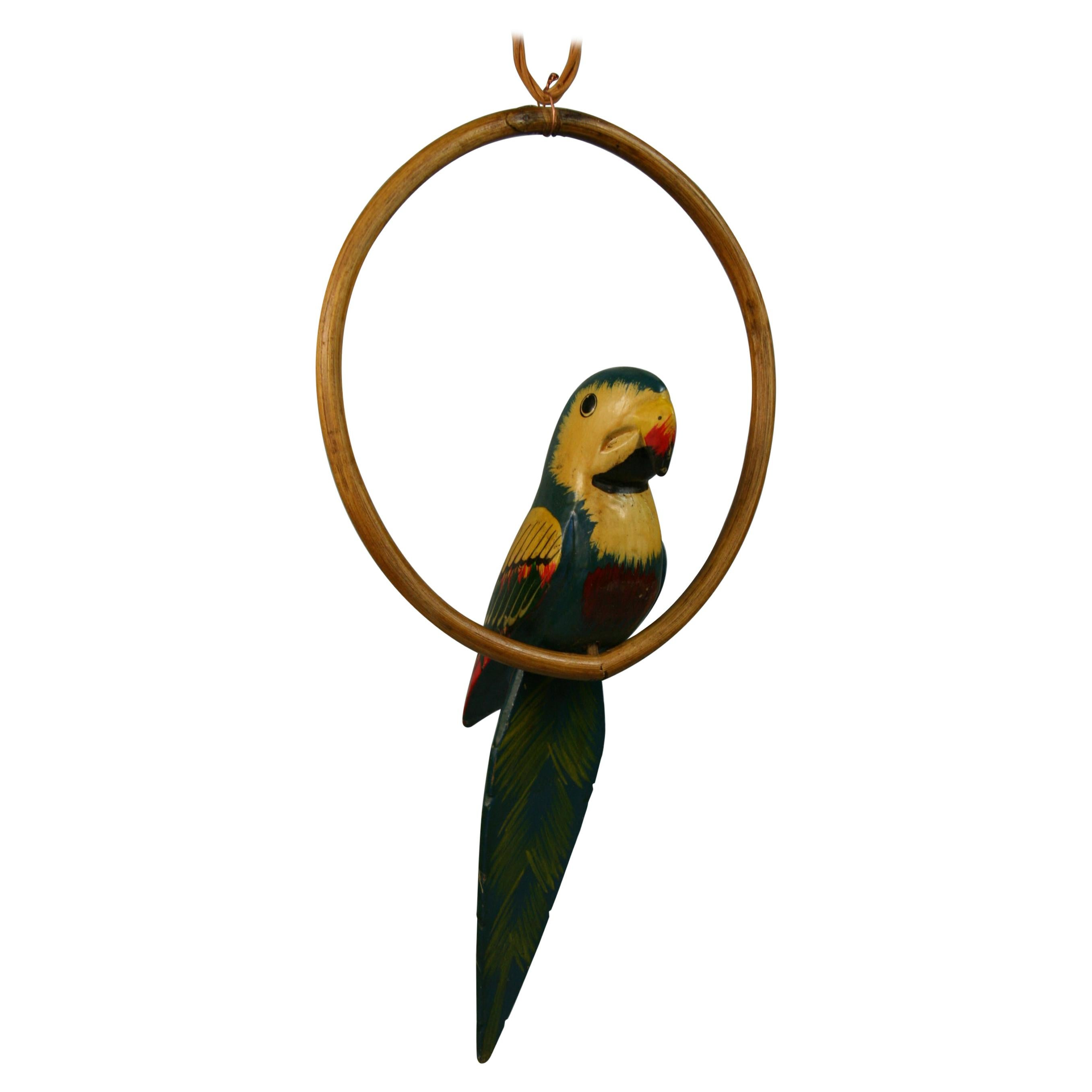 Folk Art Hand Carved and Painted Green Parrot Sculpture on a Swing