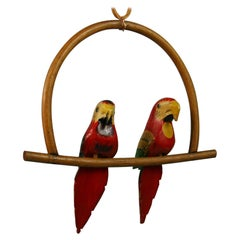 Folk Art Hand Carved and Painted Pair Red Parrots Sculptures on a Swing
