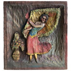 "Folk Art Hand Carved Plaque ""Dancing Dee"", 1936"