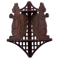 Folk Art Hand Carved 'Squirrel' Corner Shelf