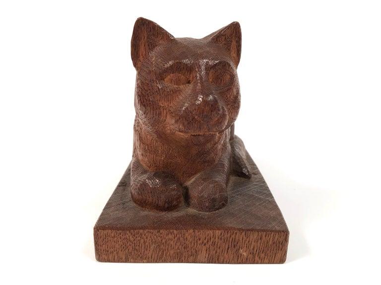 American Folk Art Hand Carved Wood Cat Sculpture  For Sale