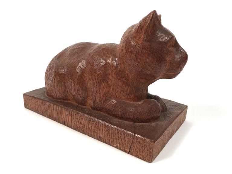 Hand-Carved Folk Art Hand Carved Wood Cat Sculpture  For Sale