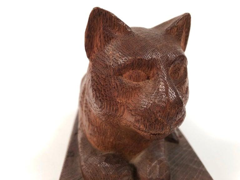 Folk Art Hand Carved Wood Cat Sculpture  For Sale 1