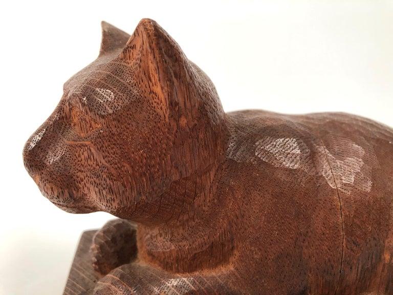 Folk Art Hand Carved Wood Cat Sculpture  For Sale 2