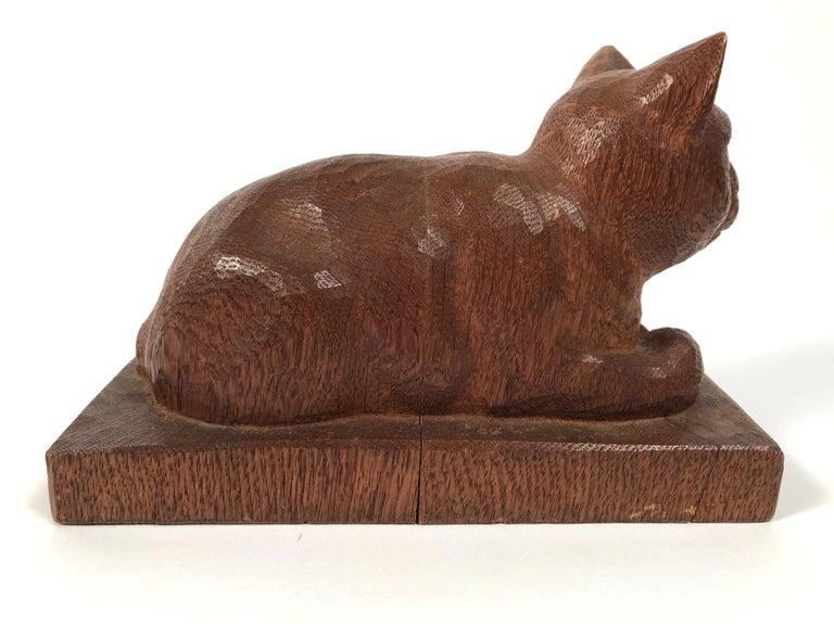 Folk Art Hand Carved Wood Cat Sculpture  For Sale 3