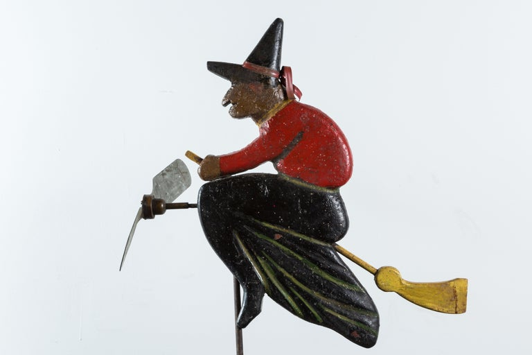 Folk Art Hand-Carved Wood Witch Weathervane For Sale 1