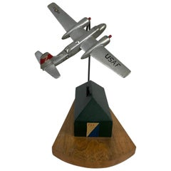 Folk Art, Hand Executed Modernist, Art Deco Airplane /Trinket Box
