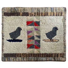 Folk Art Hand Hooked Rug with Chickens, circa 1880
