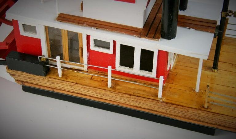 Folk Art Hand Made Paddle Wheel Ship Model For Sale 3