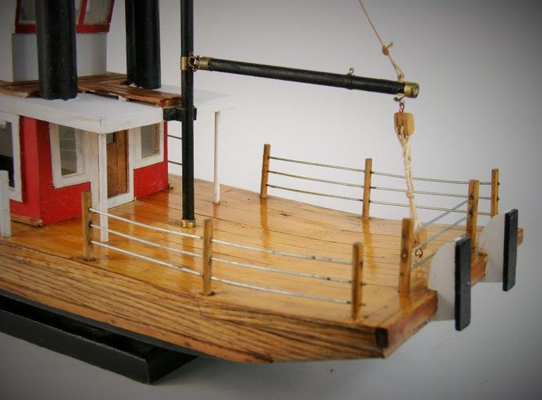 Folk Art Hand Made Paddle Wheel Ship Model For Sale 4