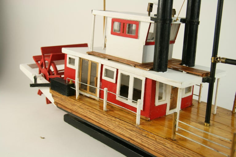 Folk Art Hand Made Paddle Wheel Ship Model For Sale 5