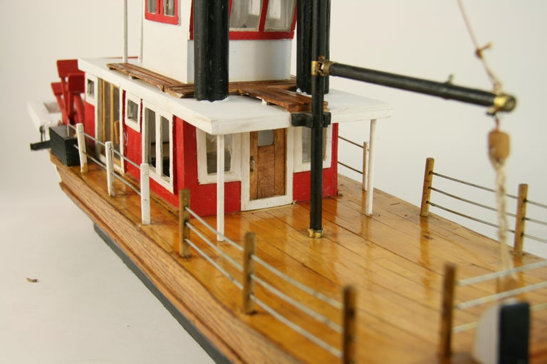 Folk Art Hand Made Paddle Wheel Ship Model For Sale 6