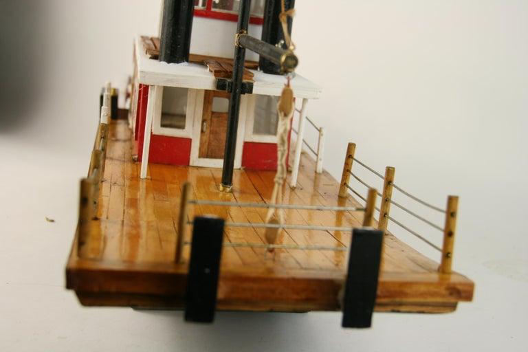 Folk Art Hand Made Paddle Wheel Ship Model For Sale 7