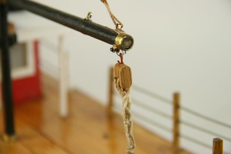 Folk Art Hand Made Paddle Wheel Ship Model For Sale 8