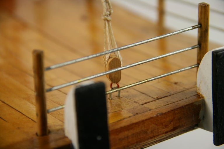 Folk Art Hand Made Paddle Wheel Ship Model For Sale 9