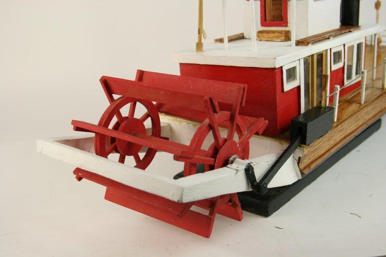 Folk Art Hand Made Paddle Wheel Ship Model For Sale 10