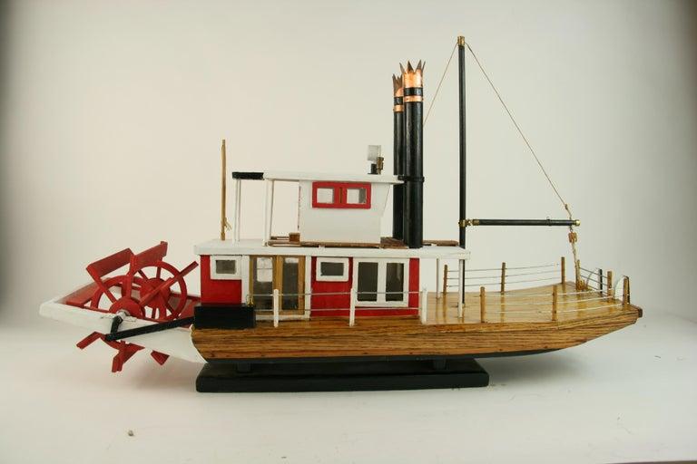 Folk Art Hand Made Paddle Wheel Ship Model For Sale 12