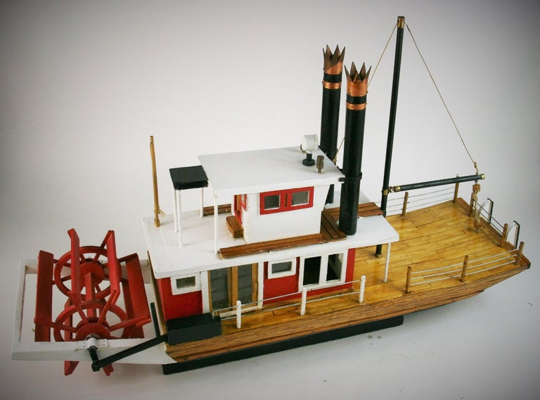 3-427 Folk Art hand made paddle wheel ship model Model was made by a 80 year old man from Long Island NY  Beautifully detailed 18