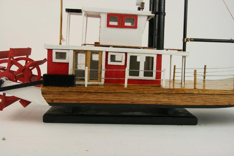 Folk Art Hand Made Paddle Wheel Ship Model For Sale 13