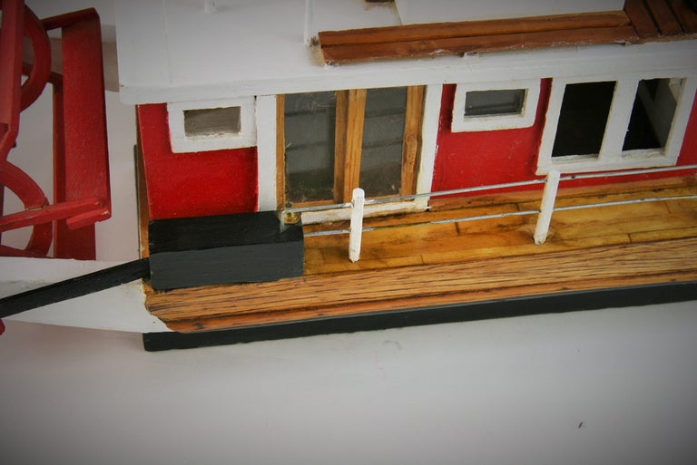 Folk Art Hand Made Paddle Wheel Ship Model In Good Condition For Sale In Douglas Manor, NY