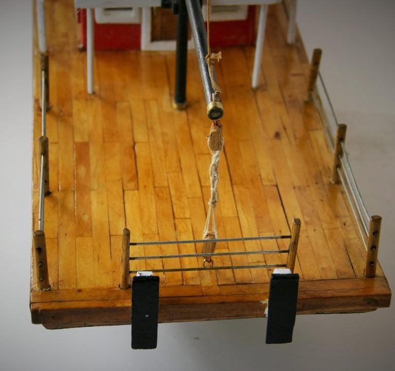 Mid-20th Century Folk Art Hand Made Paddle Wheel Ship Model For Sale