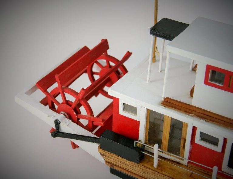 Folk Art Hand Made Paddle Wheel Ship Model For Sale 1