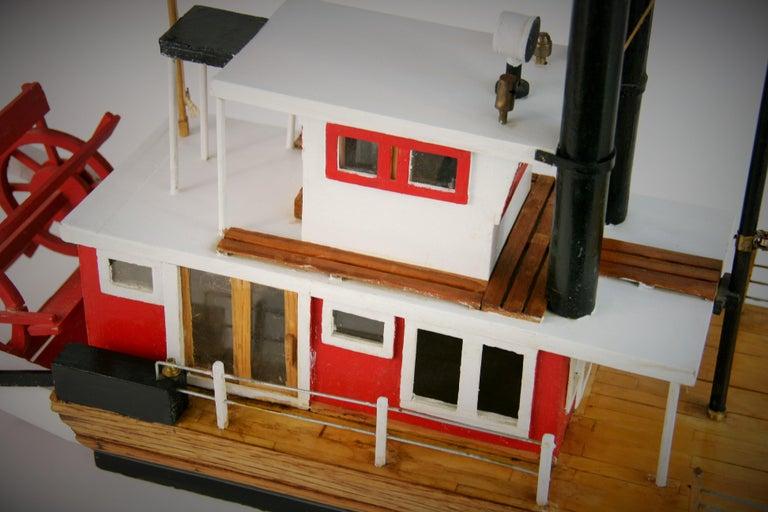 Folk Art Hand Made Paddle Wheel Ship Model For Sale 2