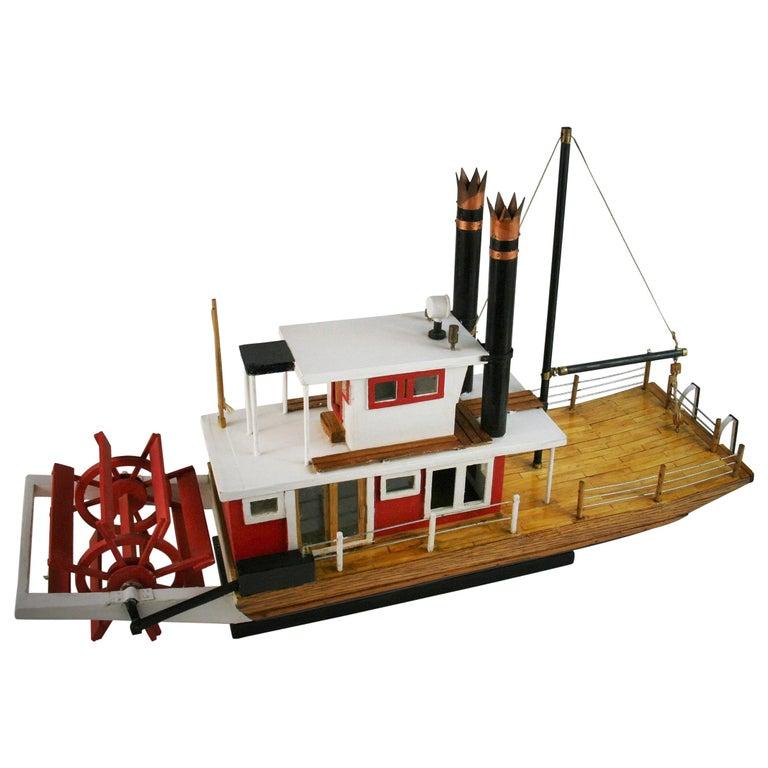 Folk Art Hand Made Paddle Wheel Ship Model For Sale