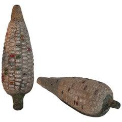 Folk Art Handmade Terracotta Corn or Pair