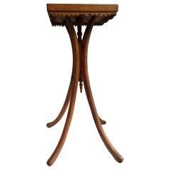Folk Art Handmade Wood Inlay Plant Stand Pedestal