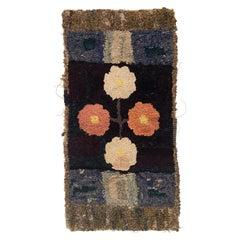 Folk Art Hooked Flower Rug