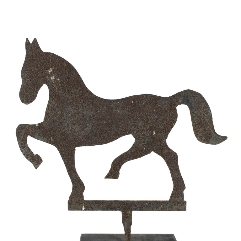 American horse silhouette Folk Art stabile sign from the early 20th century. Sheet iron cutout of a prancing horse. Not sure of use, we think stabile sign.