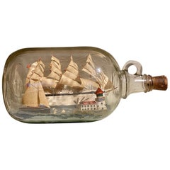 Folk Art Large Ship in a Bottle, Mid-20th Century