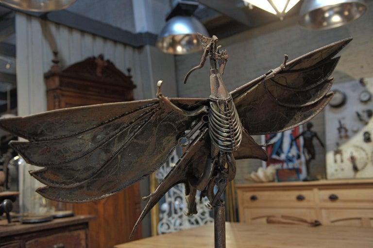 Folk Art Large Turning Dragon Metal Sculpture, circa 1960 ...