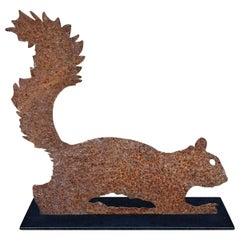 Folk Art Leaping Squirrel Sculpture