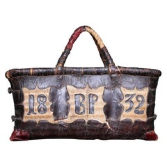 Folk Art Leather and Woven Rush Butchers Bag Initials BP Dated 1832